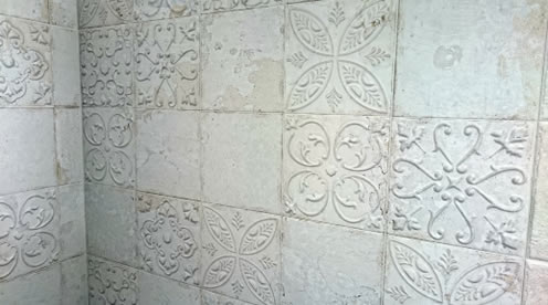 Sydney Pressed Metal Look Tiles Feature Wall Tin Showroom